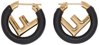 Fendi Black Mini F is Hoop Earrings