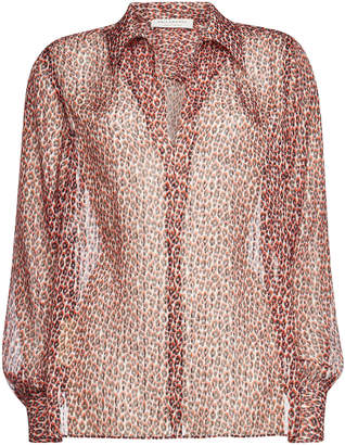 2edf4fcfca4eb Philosophy di Lorenzo Serafini Animal Print Silk Blouse with Metallic Thread