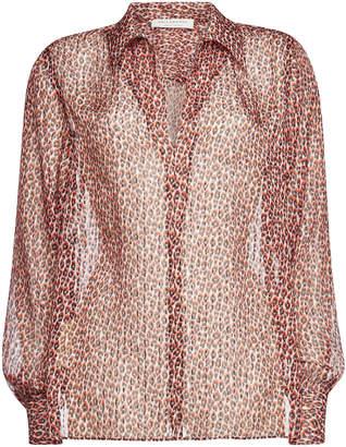 5ecc9965e33ee Philosophy di Lorenzo Serafini Animal Print Silk Blouse with Metallic Thread