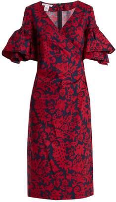 Oscar de la Renta Decorative floral-print cotton-blend poplin dress