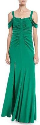 Halston Cold-Shoulder Ruched Gown