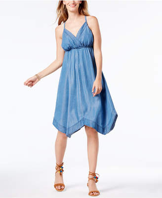 INC International Concepts Denim Handkerchief-Hem Dress, Only at Macy's $99.50 thestylecure.com