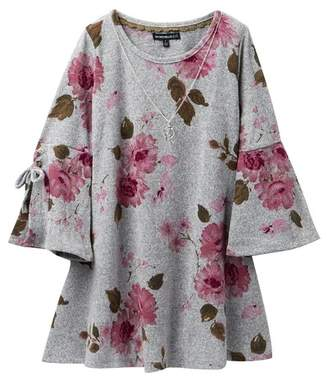 My Michelle mymichelle Floral Print Tie Sleeve Dress & Necklace (Big Girls)
