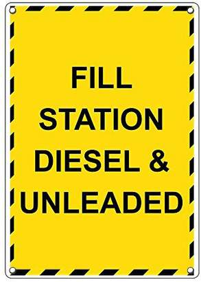 Diesel SignJoker Weatherproof Plastic Vertical Fill Station & Unleaded Sign with English Text
