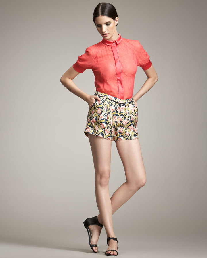 Jason Wu Printed Silk Shorts
