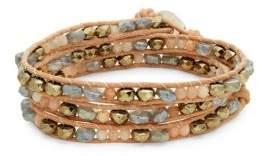 Chan Luu Multi-Stone & Leather Wrap Bracelet