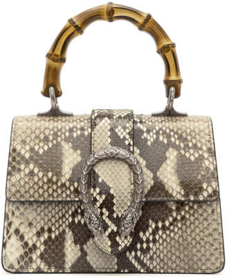 Gucci Brown and Beige Mini Python Dionysus Top Handle Bag