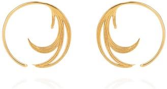 Lee Renee Duck Feather Hoop Earrings Gold Vermeil