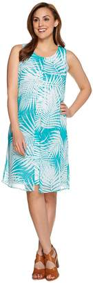 Susan Graver Printed Liquid Knit Dress w/ Sheer Chiffon Overlay
