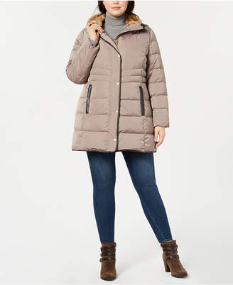 Cole Haan Plus Size Faux-Fur-Collar Puffer Coat