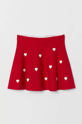 H&M Knit Skirt with Embroidery - Red