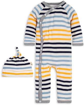 Burt's Bees Tri-Stripe Organic Baby Kimono Jumpsuit & Hat Set