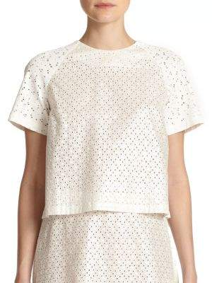 Suno Eyelet Back-Pleat Top