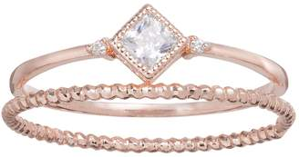 Lauren Conrad Runway Collection Cubic Zirconia Square & Twisted Ring Set