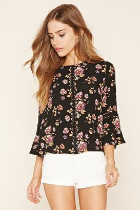 FOREVER 21+ Floral Print Crochet Top $22.90 thestylecure.com
