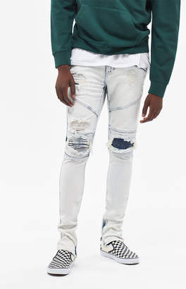 PacSun Stacked Skinny Moto Zip Acid Wash Jeans