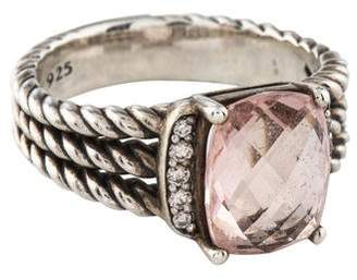 David Yurman Morganite & Diamond Petite Wheaton Ring