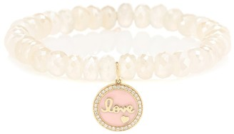 Sydney Evan Love Tableau beaded bracelet with 14kt yellow gold and diamond charm