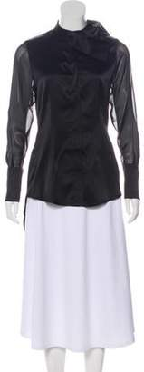 Thomas Wylde Bow-Accented Silk Blouse w/ Tags Black Bow-Accented Silk Blouse w/ Tags