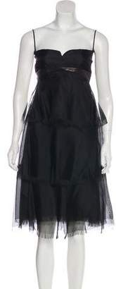 Ralph Rucci Faux Leather-Trimmed Silk Dress