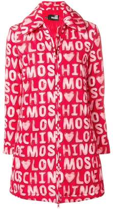 Love Moschino logo printed coat