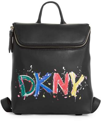 DKNY Graphic Logo Faux Leather Backpack