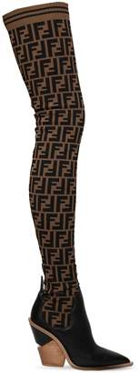 Fendi 100mm Ff Knit & Leather Thigh Boots