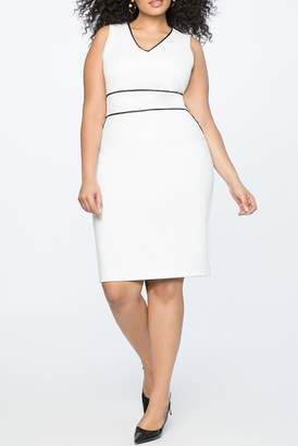ELOQUII Contrast Piping V-Neck Sheath Dress (Plus Size)