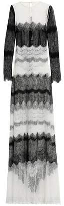 Emilio De La Morena Two-Tone Corded Lace Gown