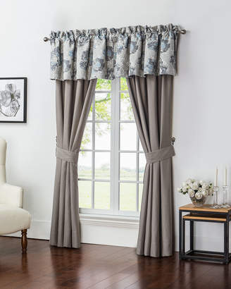"""Waterford Two Blossom Pewter Taupe Jacquard Curtains, 84""""L"""