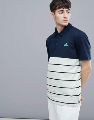 adidas Stripe Polo In Navy D96146