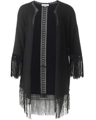 Silvian Heach Fringed Cardigan Colour: BLACK, Size: SMALL