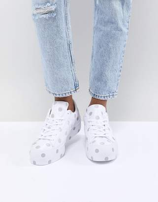 Converse One Star Platform Sneakers With Embroided Polka Dot