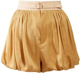 Chloé Degrade Puffed Hem Silk Blend Shorts - Womens - Gold