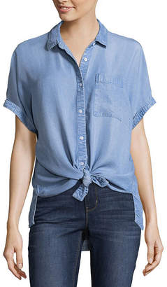 A.N.A Short Sleeve Tie Front Top - Tall