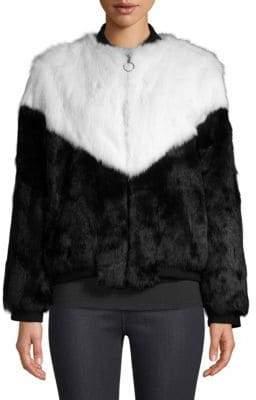 Adrienne Landau Colorblock Rabbit Fur Varsity Jacket