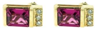 14k Yellow Gold Diamond and Pink Topaz Earrings