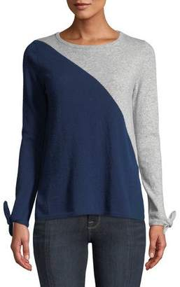 Neiman Marcus Cashmere Long-Sleeve Tie-Cuff Crewneck Colorblock Sweater