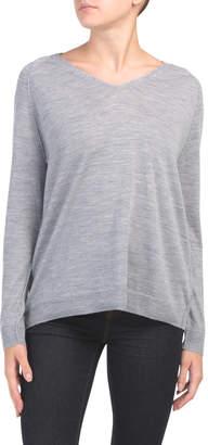 Extrafine Merino Wool V Neck With Rib Trim Sweater