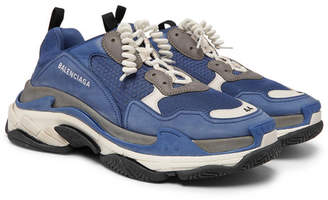 Balenciaga Triple S Mesh, Suede and Leather Sneakers - Blue
