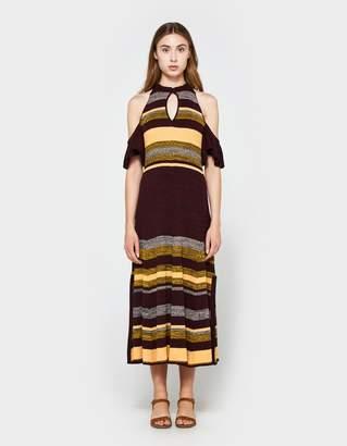 Apiece Apart Knit Cold Shoulder Dress in August Sky Stripe