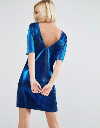 ASOS Metallic Plisse T-Shirt Mini With Low Back $53 thestylecure.com