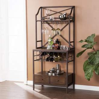 Southern Enterprises Atticore Bakers Rack/Microwave Stand, Antique Brown w/ Dark Pine