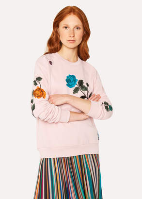 Paul Smith Women's Pale Pink 'Rose' Embroidered Cotton Sweatshirt