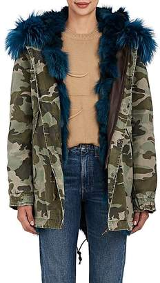 Mr & Mrs Italy Women's Fur-Lined Camouflage Cotton Midi-Parka