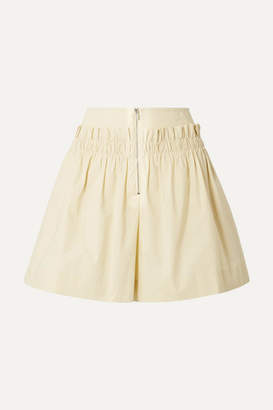 Tibi Gathered Cotton-poplin Shorts - Pastel yellow