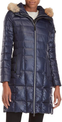 Andrew Marc Navy Real Fur Trim Hooded Down Coat