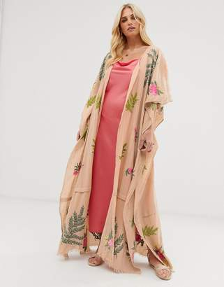 Aratta maxi kimono in linen with premium floral embroidery