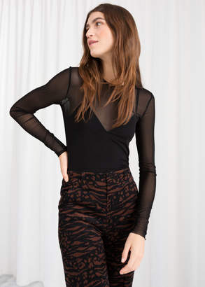 And other stories Mesh Long Sleeve Top