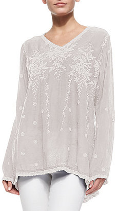 Johnny Was Vine Embroidered Georgette Tunic, Plus Size $235 thestylecure.com